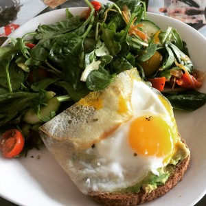 avo and egg toast and salad