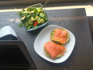 desk lunch salmon toast and salad
