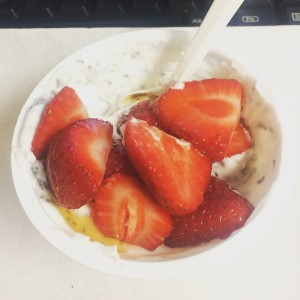 desk snack yogurt with berries