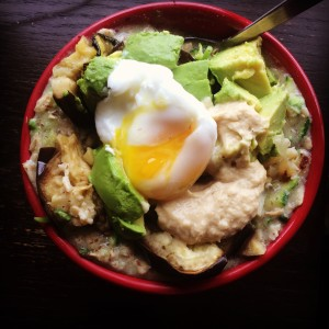 zucchini oats with poached egg