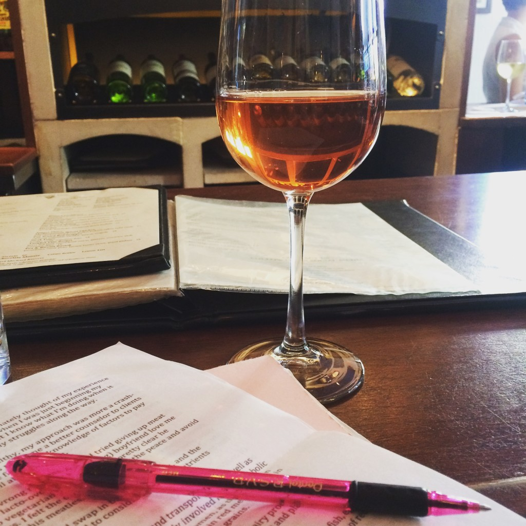 pink wine and pen