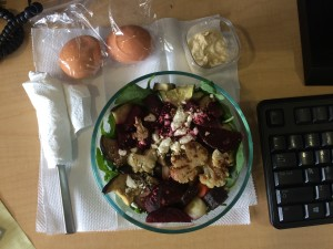 desk salad with eggs and eggplant dip
