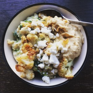 savory oatmeal with cauliflower and goat cheese