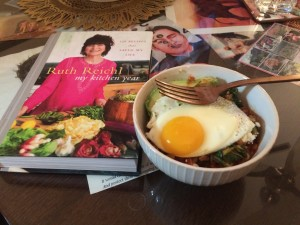 leftover farro and veg with egg