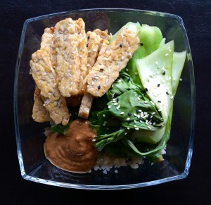 tempeh with bok choy and cauliflower rice
